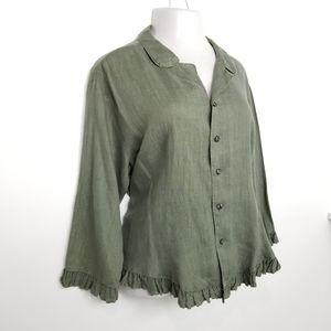 CP Shades Green Linen Ruffle Hem Button Top